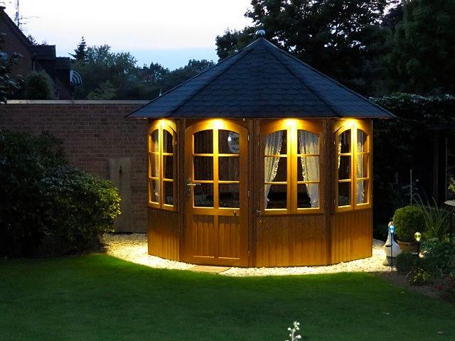 Beleuchtung Gartenhaus | Hochwertiges Gartenhaus Aus Holz Romantica Von Riwo Pavillons