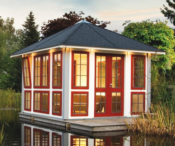 gartenpavillon holz flachdach. Black Bedroom Furniture Sets. Home Design Ideas